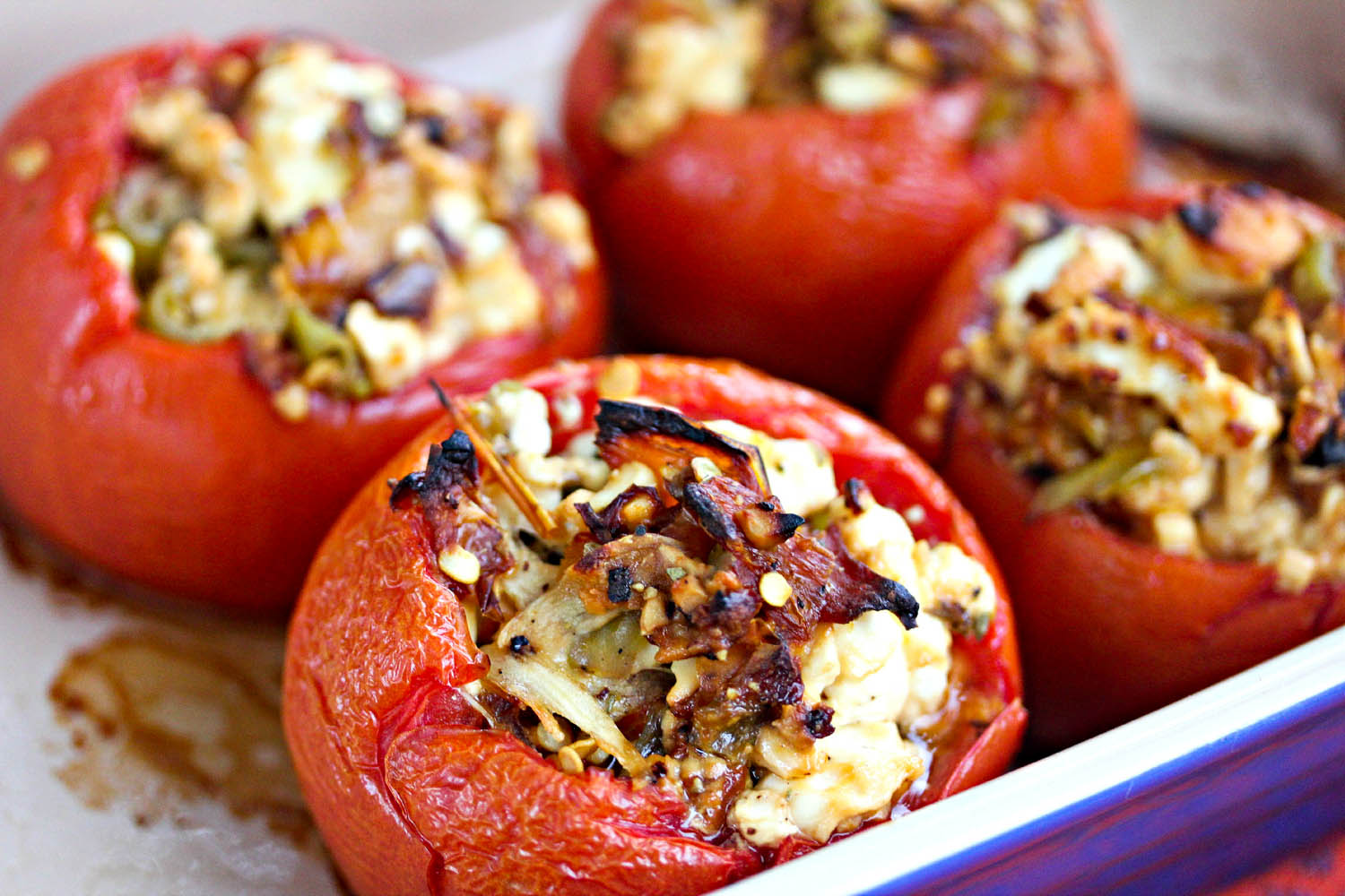 Baked stuffed cherry tomatoes